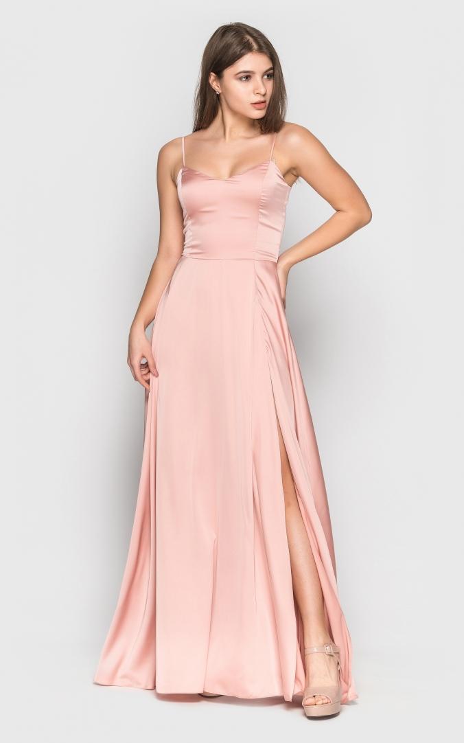 Длинное шелковое платье (розовое)