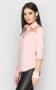 Рубашка с прозрачным рукавом (персиковая)