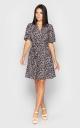 Платье-мини с хищным принтом (серое)