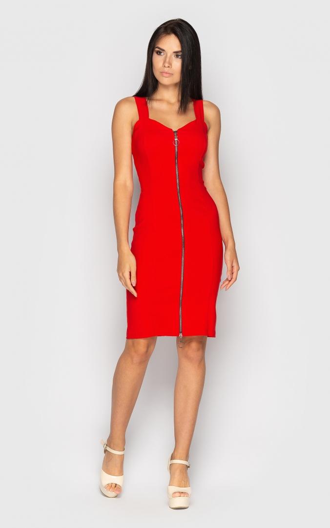 Стильное платье с молнией (красное)
