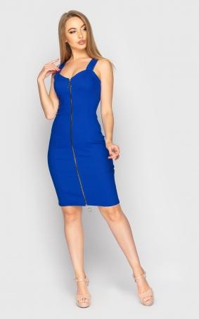 Stylish dress with zipper (blue)