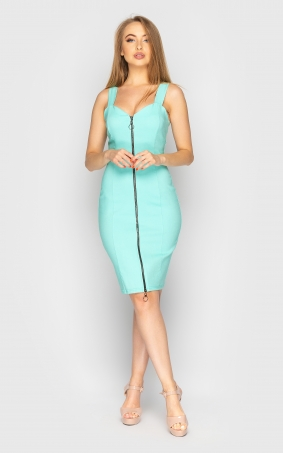Stylish dress with zipper (mint)