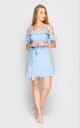 Расклешенное мини платье (голубое)