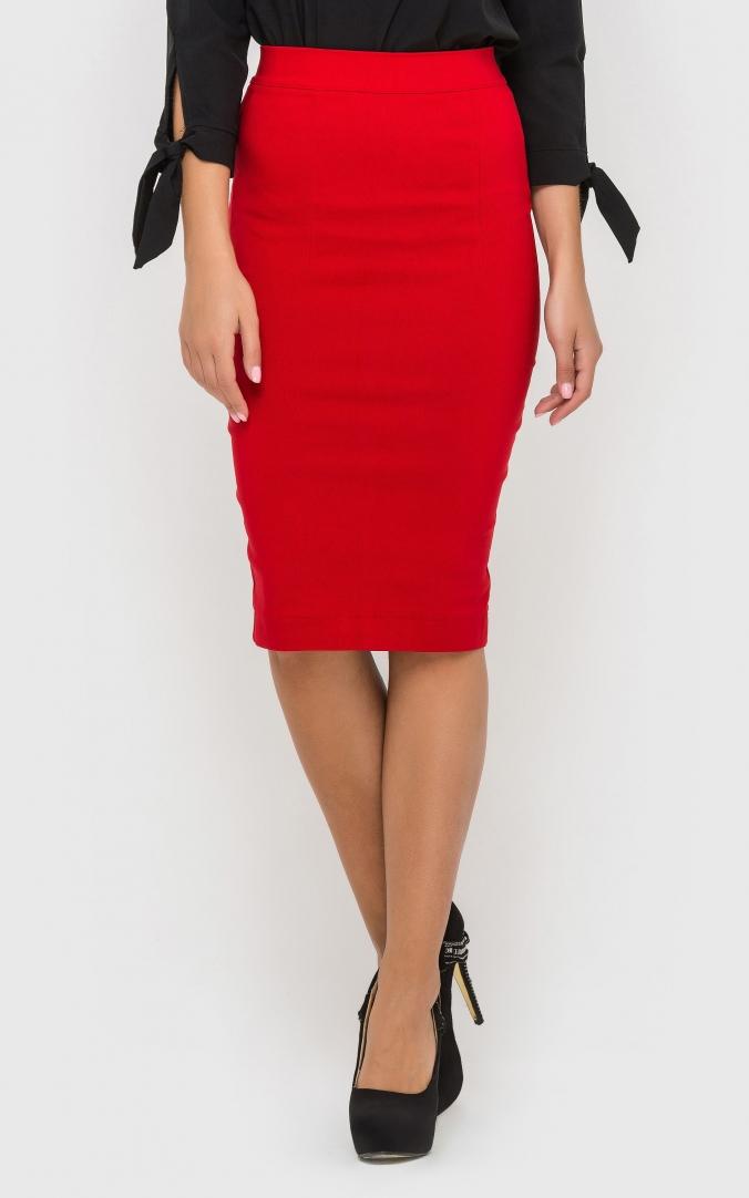 Стильная юбка-карандаш (красная)