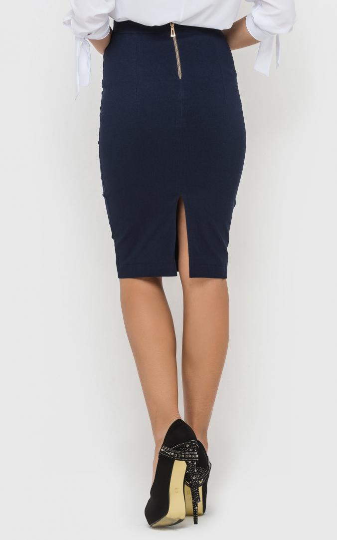Стильная юбка-карандаш (синяя)