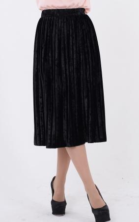 Бархатная юбка-плиссе (черная)