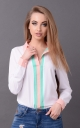 Fashionable short blouse (white-mint)
