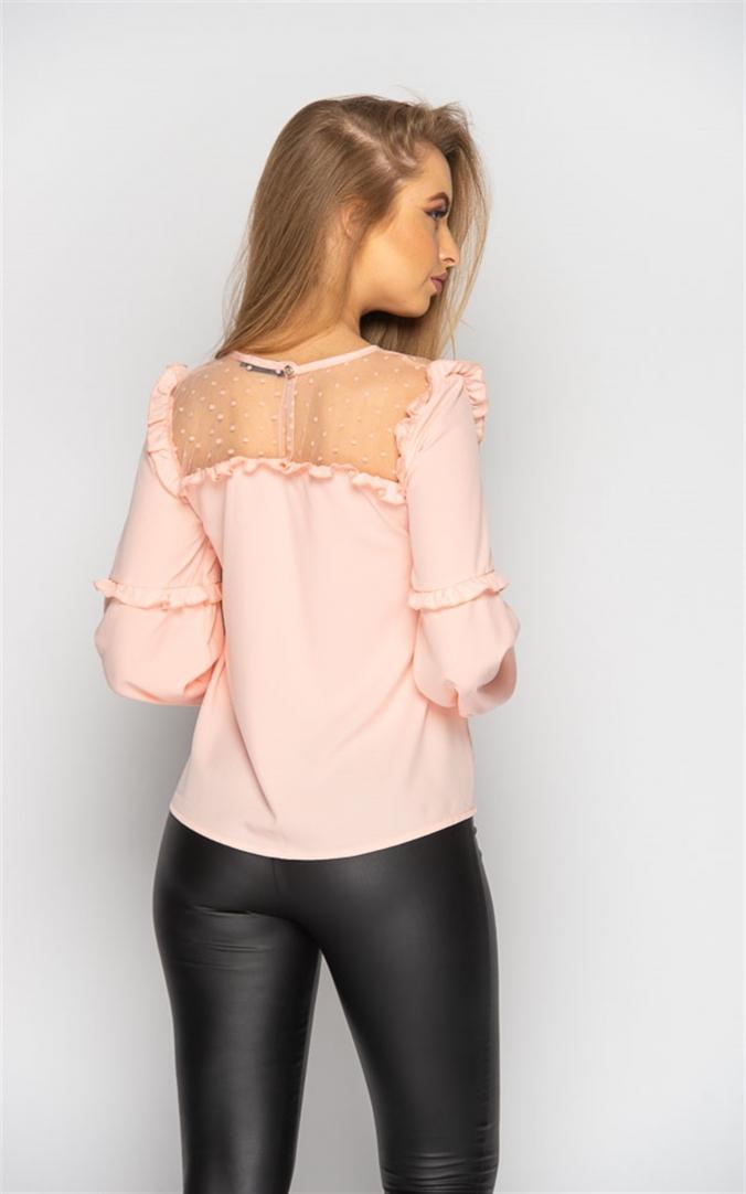 Блуза с прозрачными вставками (персиковая)