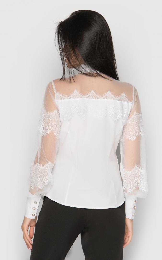 Однотонная офисная блуза (белая)