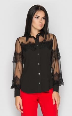 Однотонная офисная блуза (черная)