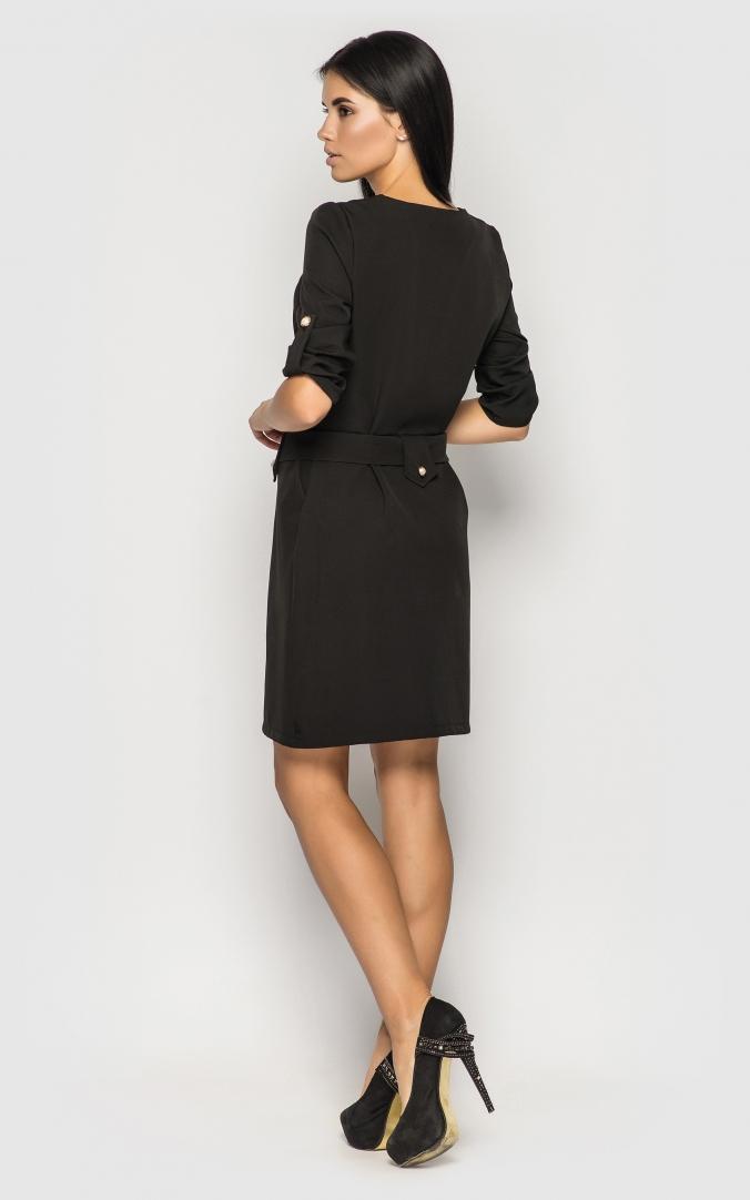 Строгое силуэтное платье (черное)