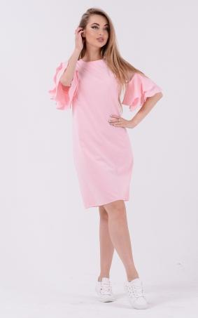 Монохромное платье волан