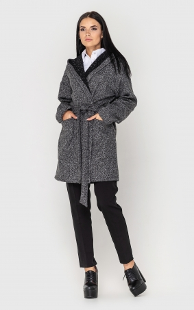 Cardigan with a belt and a hood(gray)