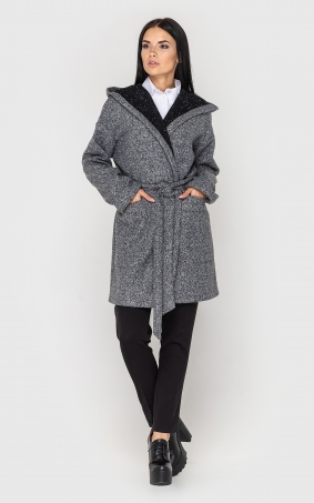 Cardigan with a belt and a hood (light-gray)