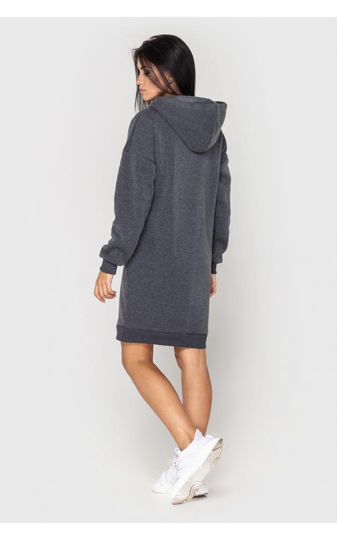 Платье теплое с капюшоном (темно-серое)