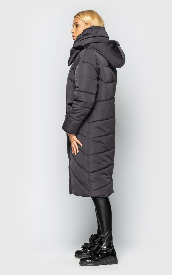 Extra long jacket with collar (gray)