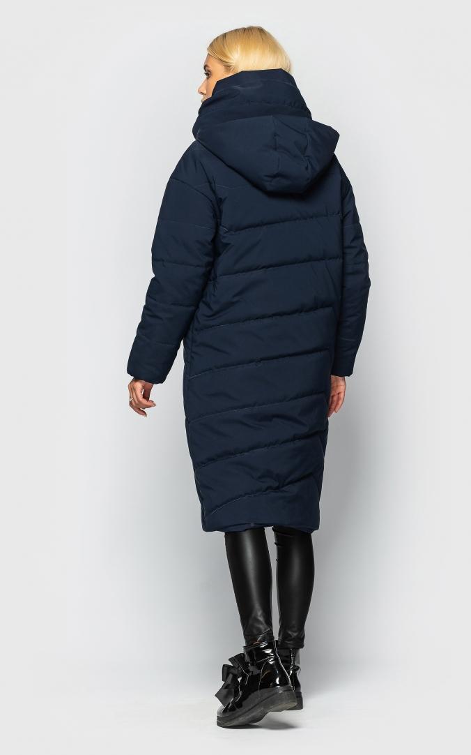 Подовжена куртка з коміром (темно-синя)