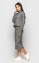Теплый костюм с юбкой (серый)