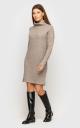 Теплое вязаное платье (бежевое)