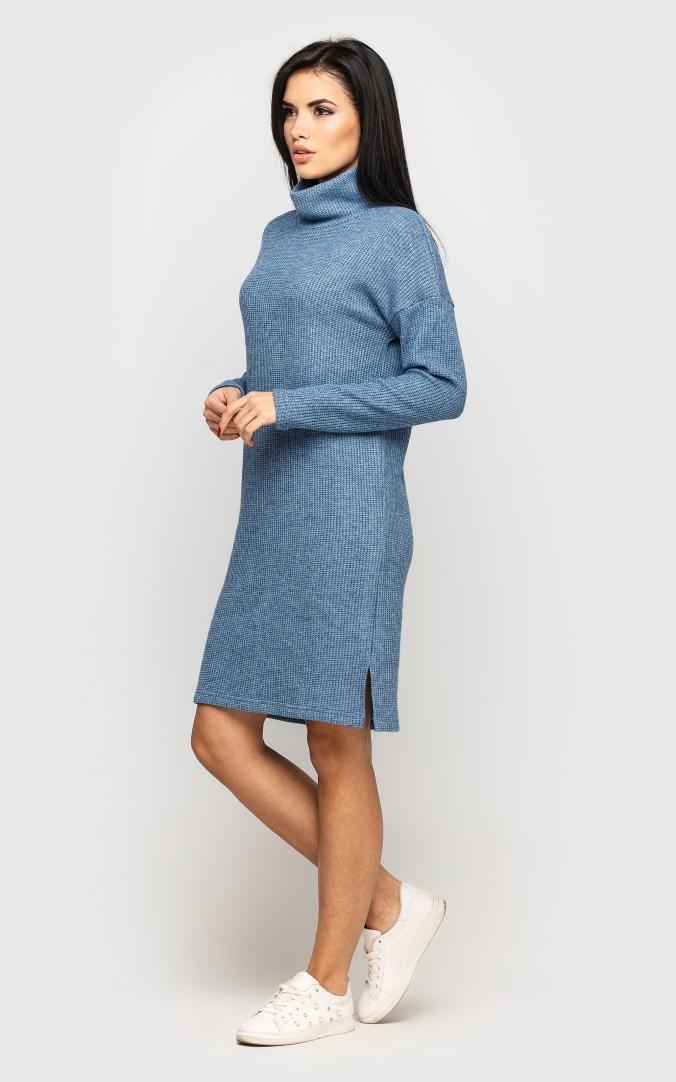 Теплое вязаное платье (голубое)
