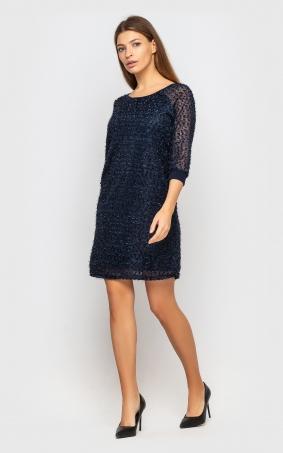 Елегантна вечірня сукня (темно-синя)