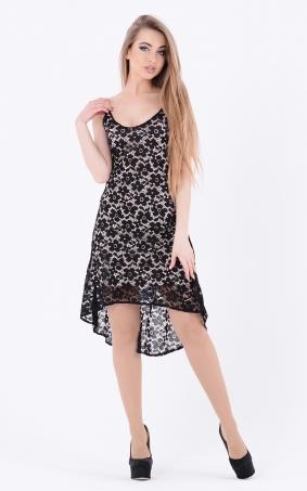 Ассиметричное платье гипюр (черное)