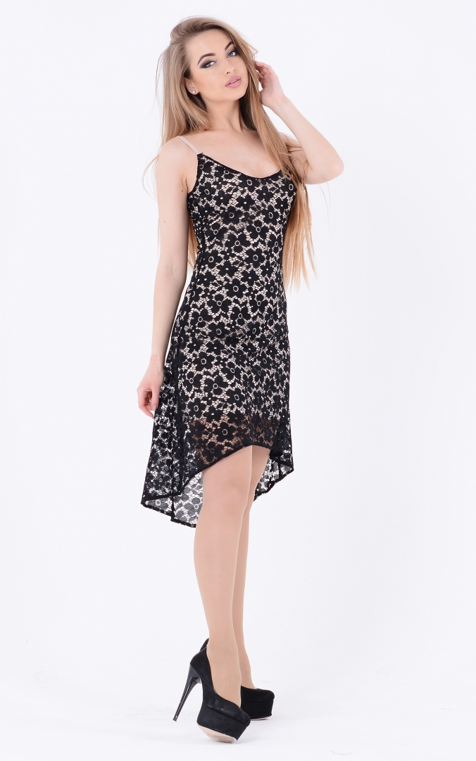 Asymmetrical gown dress (black)