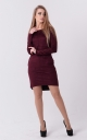 Stylish suede dress (burgundy)