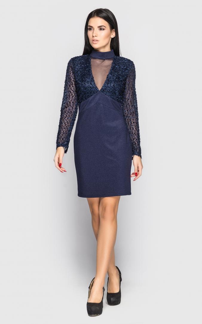 Вечірня сукня з рукавом (темно-синя)