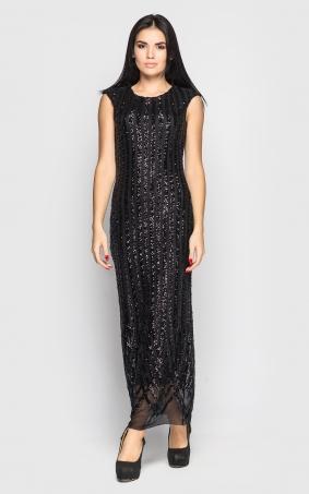 Довга сукня з паєтками (чорна)