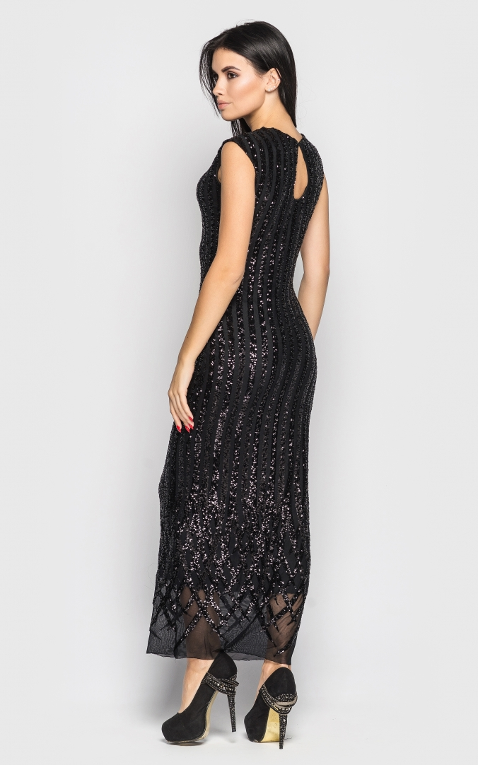 Long dress with sequins (black)