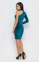 Платье с одним рукавом (изумруд)