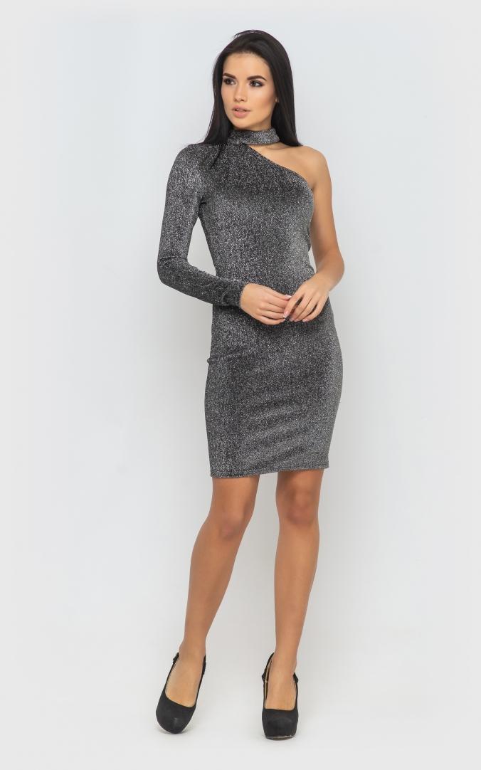 Сукня з одним рукавом (срібна)