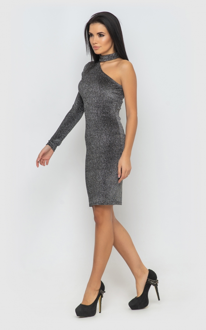Dress with one sleeve (silver)