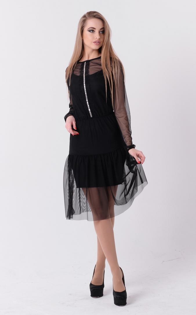 Пышное платье-двойка (черное)