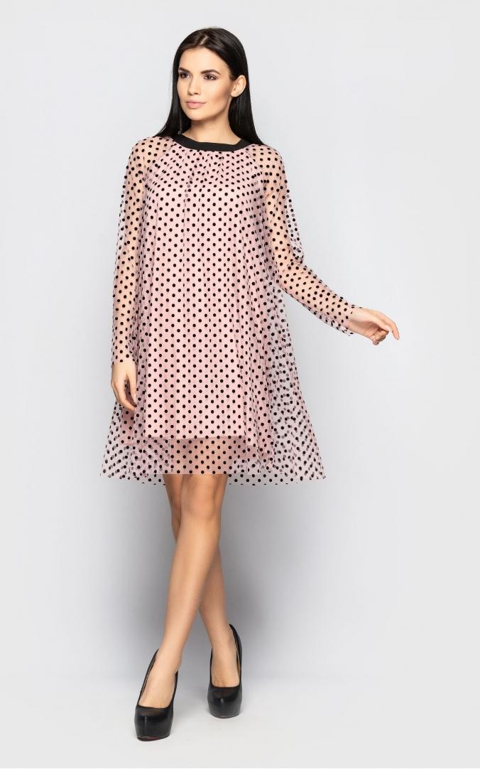Платье в мелкий горошек (розовое)