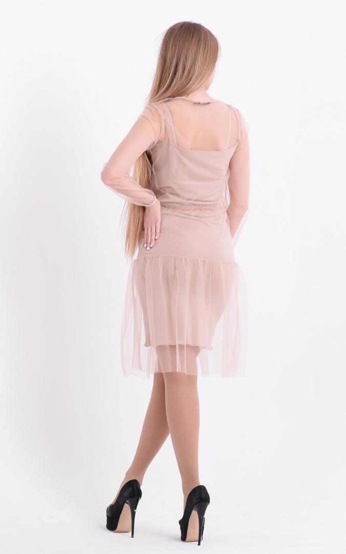 Пишна сукна-двійка (бежева)