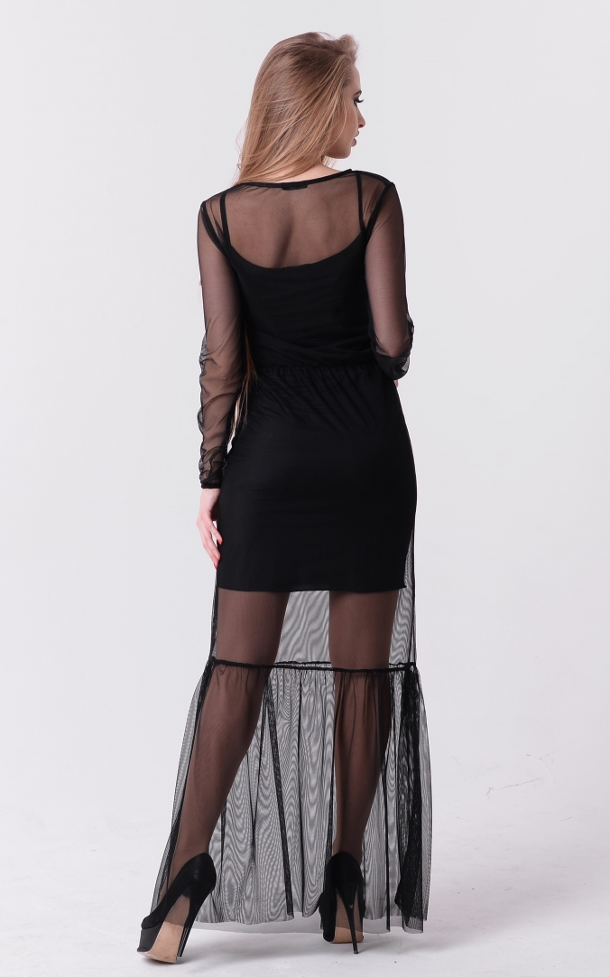 Потрясающее длинное платье (черное)