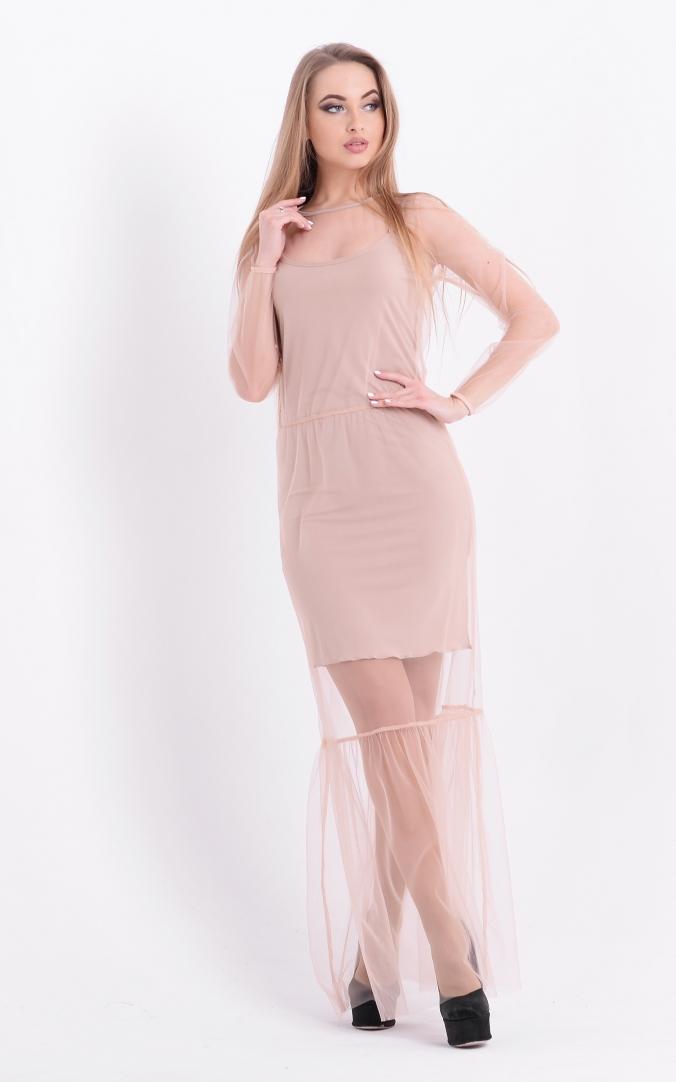 Приголомшлива довга сукня (бежева)