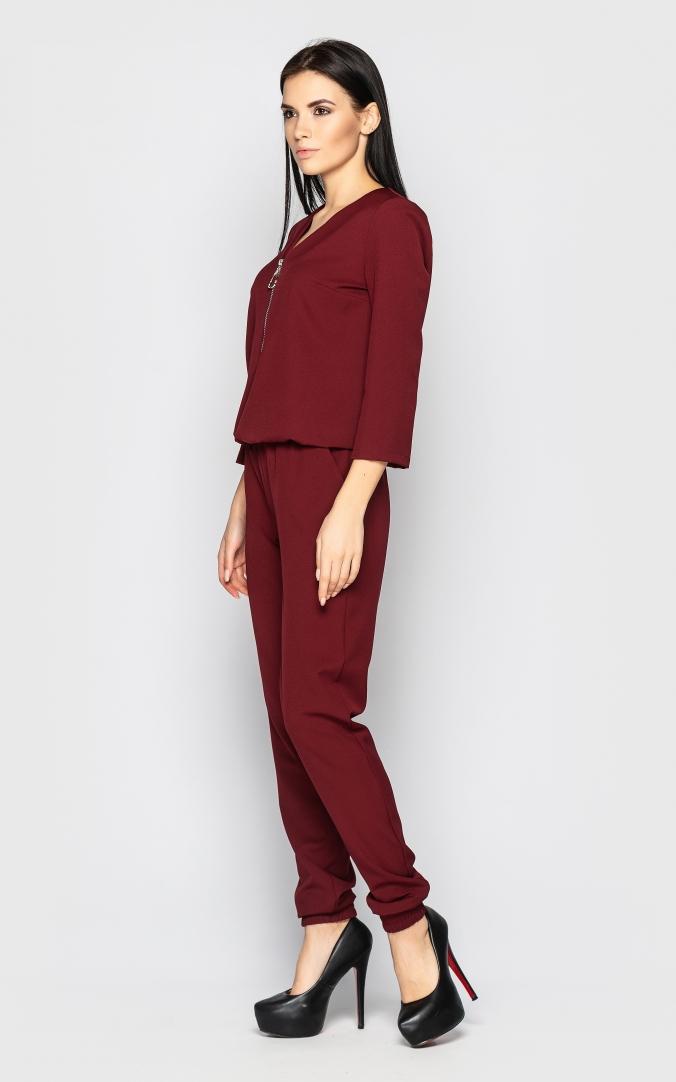 Повседневный брючный костюм (бордовый)