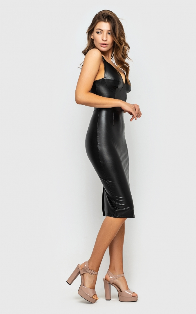 Leather dress with straps