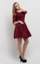 Festive guipure dress (burgundy)