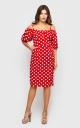 Платье-миди в горошек (красное)