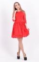 Праздничное гипюровое платье (красное)