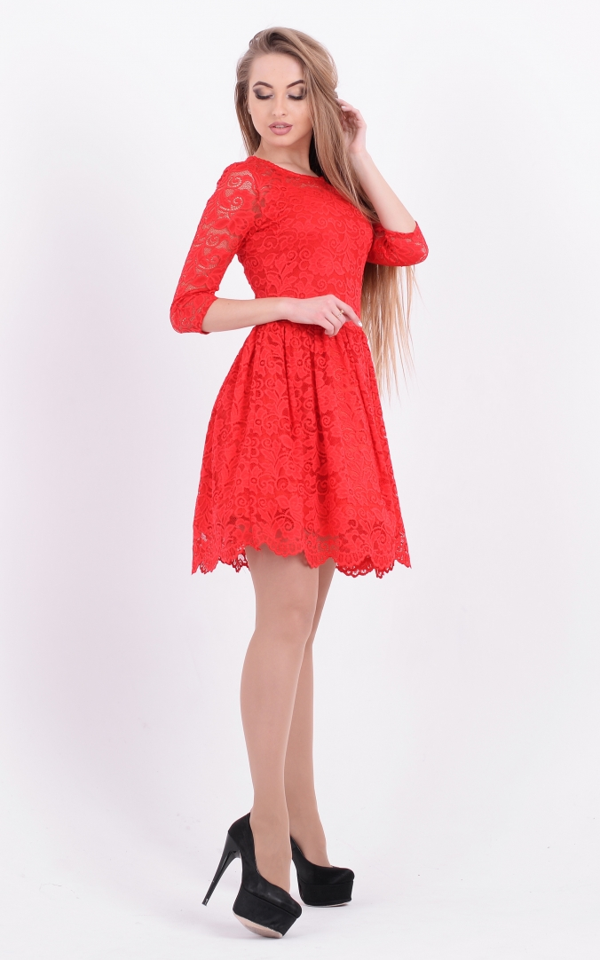 Festive guipure dress (red)