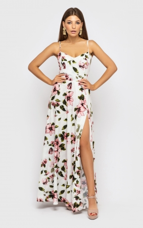 Sophisticated dress on shoulder straps (white with flowers)