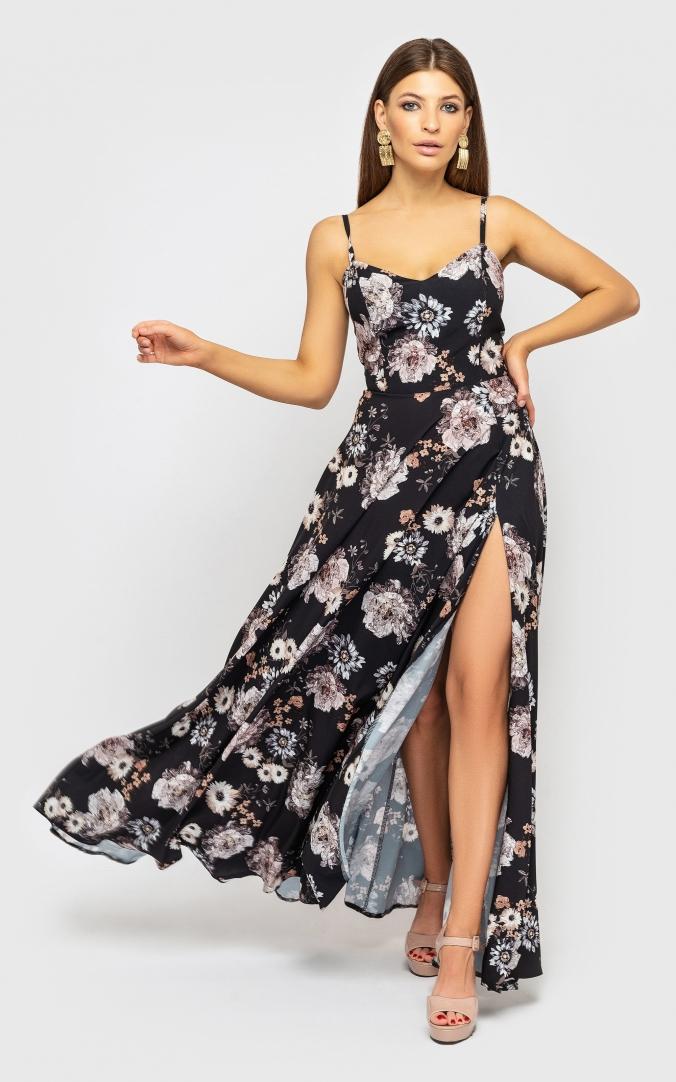 Утонченное платье на бретелях (черное с цветами)