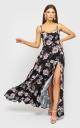 Sophisticated dress on shoulder straps (black with flowers)