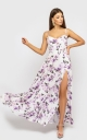 Sophisticated dress on shoulder straps (white with lilac roses)