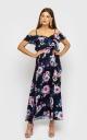 Платье со спущенными плечами(розы мультиколор)